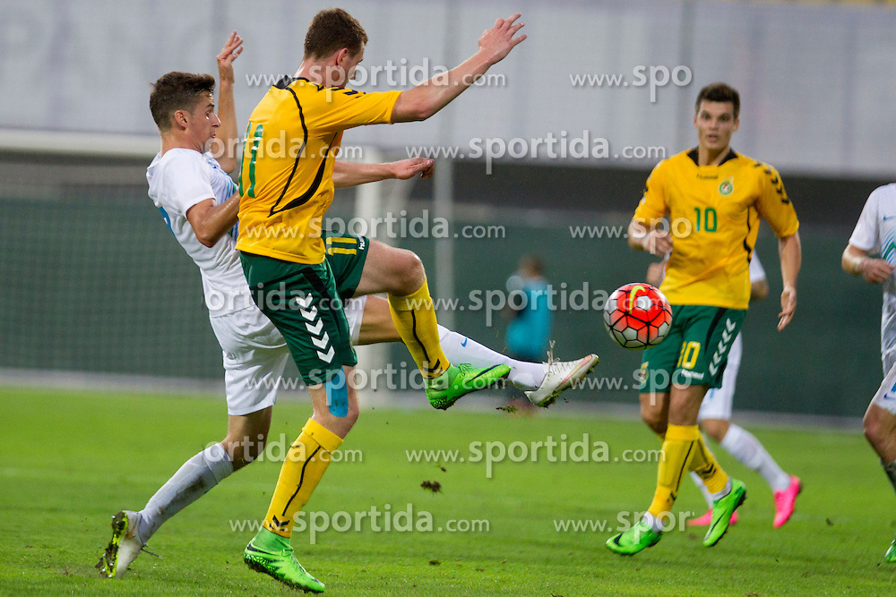 Rokas Krusnauskas #11 of Lithuania during football match between U21 National Teams of Slovenia and Lithuania in 2nd Round of UEFA 2017 European Under-21 Championship Qualification on September 4, 2015 in Arena Petrol, Celje, Slovenia. Photo by Urban Urbanc / Sportida