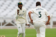 Steven Mullaney of Nottinghamshire celebrates taking a wicket during the Bob Willis Trophy match between Nottinghamshire County Cricket Club and Derbyshire County Cricket Club at Trent Bridge, Nottingham, United Kingdon on 4 August 2020.