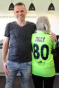 Jilly Cooper and owner during the Vanarama National League match between Forest Green Rovers and North Ferriby United at the New Lawn, Forest Green, United Kingdom on 1 April 2017. Photo by Alan Franklin.