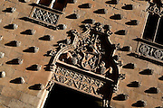 """Detail of carvings on the wall of Casa de las Conchas, Salamanca, Spain, pictured on December 19, 2010 in the afternoon. The Casa de la Conchas, 15th century, was built as the palace of Rodrigo Maldonado, a knight of the Santiago Order (Order of St James), whose emblem is a shell. Adorning the walls of the palace are carvings of shells, hence the name. It is now a library. Salamanca, an important Spanish University city, is known as La Ciudad Dorada (""""The golden city"""") because of the unique golden colour of its Renaissance sandstone buildings. Founded in 1218 its University is still one of the most important in Spain. Around it the Old Town is a UNESCO World Heritage Site. Picture by Manuel Cohen"""