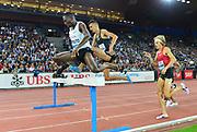 Conseslus Kipruto (KEN) defeats Soufiane Elbakkali (MAR) to win the steeplechase, 8:10.15 to 8:10.19, during the Weltklasse Zurich in an IAAF Diamond League meeting at Letzigrund Stadium in Zurich, Switzerland on Thursday, August 30, 2018.(Jiro Mochizuki/Image of Sport)