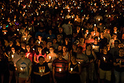 CHARLOTTESVILLE, USA - August 16: Thousands gather with candles to march along the path that White Supremacists took the prior Friday with torches on the University of Virginia Campus in Charlottesville, Va., USA on August 16, 2017.