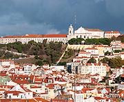 View of Convento Nossa Senhora da Graca from the Miradouro de Sao Pedro de Alcantara in the Bairro Alto, Lisbon, Portugal
