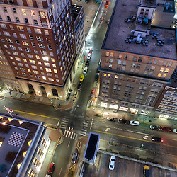 City dusk aerial photography above 10th & Baltimore Streets, downtown Kansas City, Missouri
