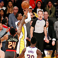 07 January 2018: Los Angeles Lakers guard Kentavious Caldwell-Pope (1) takes a jump shot past Atlanta Hawks guard Kent Bazemore (24) during the LA Lakers 132-113 victory over the Atlanta Hawks, at the Staples Center, Los Angeles, California, USA.