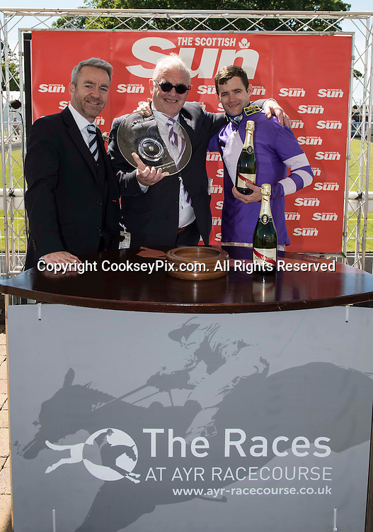 Picture by Christian Cooksey/CookseyPix.com<br /> Scottish Sun Raceday at Ayr racecourse. 20th June 2015. Presentation for the 2.55pm SunSport Handicap