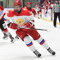 WHITBY, - Dec 15, 2015 -  WJAC Game 6- Team Russia vs Team Switzerland at the 2015 World Junior A Challenge at the Iroquois Park Recreation Complex, ON. Artem Ivanyuzhenkov #12 of Team Russia pursues the play during the first period.<br /> (Photo: Andy Corneau / OJHL Images)