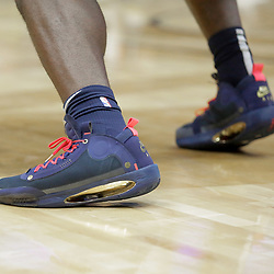 Oct 5, 2019; New Orleans, LA, USA; Shoes worn by forward Zion Williamson (1) during a open practice at the Smoothie King Center. Mandatory Credit: Derick E. Hingle-USA TODAY Sports