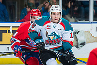 KELOWNA, CANADA - MARCH 3:  Carsen Twarynski #18 of the Kelowna Rockets skates against the Spokane Chiefs during second period on March 3, 2018 at Prospera Place in Kelowna, British Columbia, Canada.  (Photo by Marissa Baecker/Shoot the Breeze)  *** Local Caption ***