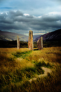 Machrie Moor prehistoric stone circles. Isle of Arran, Scotland. 4000+ year megalithic ritual site. Circle 2 shown. Tallest 4.9m