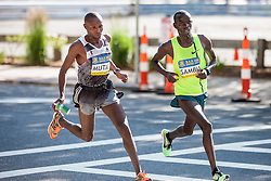 Boston Athletic Association 10K road race: Geoffrey Mutai and Stephen Sambu make sharp turn as they lead race