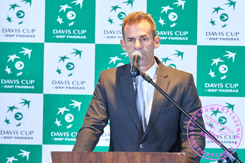 GDANSK, POLAND - 2016 MARCH 02: Captain Daniel Orsanic of Argentina speaks while official dinner at Sheraton Hotel two days before the Davies Cup / World Group 1st round tennis match between Poland and Argentina at Ergo Arena on March 2, 2016 in Gdansk, Poland<br /> <br /> Picture also available in RAW (NEF) or TIFF format on special request.<br /> <br /> Any editorial, commercial or promotional use requires written permission.<br /> <br /> Mandatory credit:<br /> Photo by &copy; Adam Nurkiewicz / Mediasport
