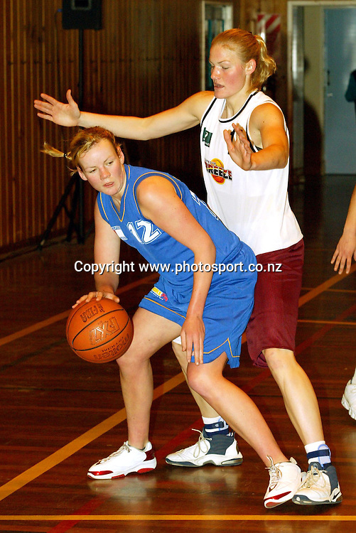 23rd August 2003, YMCA, Hamilton, New Zealand.  Women's Basketball league Plate playoffs (3rd and 4th).  Otago Breakers vs North Harbour Breeze.<br />Sarah Cripps with the ball in the key.<br />North Harbour won and finished the season 3rd.<br />Pic: Ollie Dale/Photosport