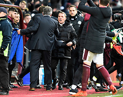 Hearts manager Craig Levein and Celtic manager Brendan Rodgers shake hands after the final whistle of the Ladbrokes Scottish Premiership match at Tynecastle Stadium, Edinburgh.