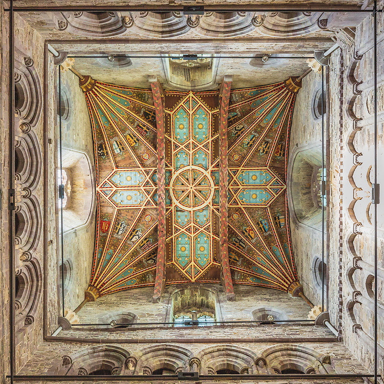 Ornate detail from the ceiling in the Tower of St Davids Cathedral