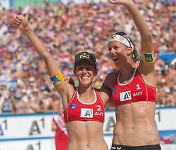 03.08.2013, Klagenfurt, Strandbad, AUT, A1 Beachvolleyball EM 2013, Finale Damen, Spiel 72, im Bild Stefanie Schwaiger 1 AUT (rechts) / Doris Schwaiger 2 AUT // during Gold Medal Match match 72 of the A1 Beachvolleyball European Championship at the Strandbad Klagenfurt, Austria on 2013/08/03. EXPA Pictures © 2013, EXPA Pictures © 2013, PhotoCredit: EXPA/ Mag. Gert Steinthaler