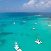 Boats anchored at North beach. Isla Mujeres, Q.Roo. Mexico