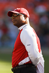 October 10, 2010; San Francisco, CA, USA;  San Francisco 49ers head coach Mike Singletary on the sidelines before the game against the Philadelphia Eagles at Candlestick Park. The Eagles defeated the 49ers 27-24.