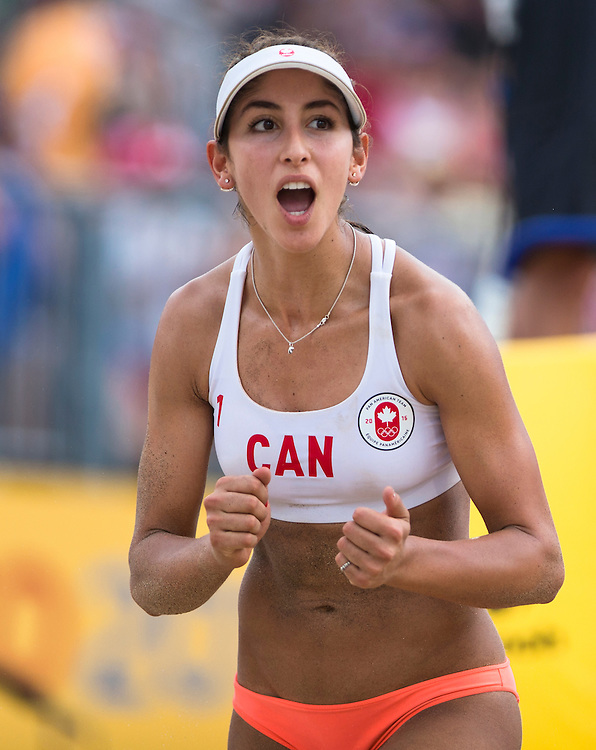 Melissa Humana-Paredes and Taylor Pischke fall two sets to one (18-21, 21-17, 15-7)  to Cuba in the Semi-Final of the Women's Beach Volleyball competition at the Pan Am Games in Toronto, Ontario on July 19, 2015.