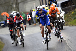 March 23, 2018 - Harelbeke, Belgium - Belgian Greg Van Avermaet of BMC Racing Team, Belgian Tiesj Benoot of Lotto Soudal and Belgian Philippe Gilbert of Quick-Step Floors pictured in action during the 61st edition of the 'E3 Prijs Vlaanderen Harelbeke' cycling race, 206,5 km from and to Harelbeke. (Credit Image: © Pool Vincent Kalut/Belga via ZUMA Press)