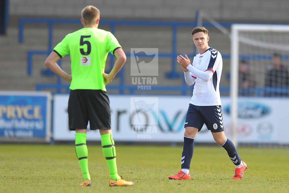 TELFORD COPYRIGHT MIKE SHERIDAN 13/4/2019 - Ryan Barnett (on loan from Shrewsbury Town) applauds the fans as he heads off the pitch during the Vanarama Conference North fixture between  AFC Telford United and Curzon Ashton at the New Bucks Head