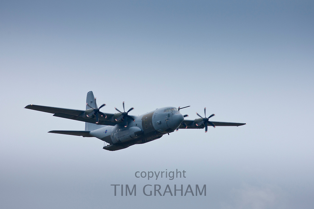 RAF Hercules, Lockheed Martin C-130 Hercules C4/C5, 4-engine turboprop military transport aircraft at RAF Brize Norton Air Base, UK