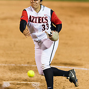 15 February 2018: The San Diego State softball team hosts #25 Kentucky to open up the 28th annual Campbell/Cartier Classic. San Diego State starting pitcher Marissa Moreno (33) seen here in the bottom of the second inning. The Aztecs lost to the Wildcats 5-0.<br /> More game action at www.sdsuaztecphotos.com