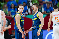 Klemen Prepelic of Slovenia and Aleksej Nikolic of Slovenia during basketball match between National Teams of Slovenia and Spain at Day 15 in Semifinal of the FIBA EuroBasket 2017 at Sinan Erdem Dome in Istanbul, Turkey on September 14, 2017. Photo by Vid Ponikvar / Sportida