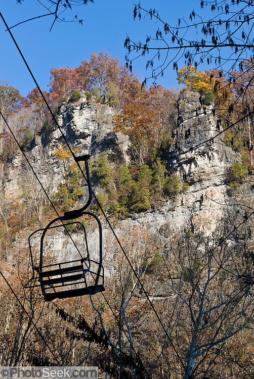 A chair lift helps visitor descend to Natural Tunnel State Park, near Duffield, Virginia in southeast USA.
