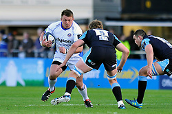 David Wilson of Bath Rugby takes on the Glasgow Warriors defence - Photo mandatory by-line: Patrick Khachfe/JMP - Mobile: 07966 386802 18/10/2014 - SPORT - RUGBY UNION - Glasgow - Scotstoun Stadium - Glasgow Warriors v Bath Rugby - European Rugby Champions Cup