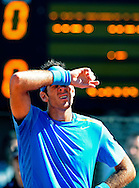 Argentina's tennis player Juan Martin Del Potro reacts after missing a point during the 2012 Davis Cup quarterfinal match against Croatia's Marin Cilic, at Parque Roca stadium in Buenos Aires on April 8, 2012. Del Potro won 6-1, 6-2 and 6-1 and gave the series to Argentina.  (PHOTOXPHOTO/Alejandro PAGNI)