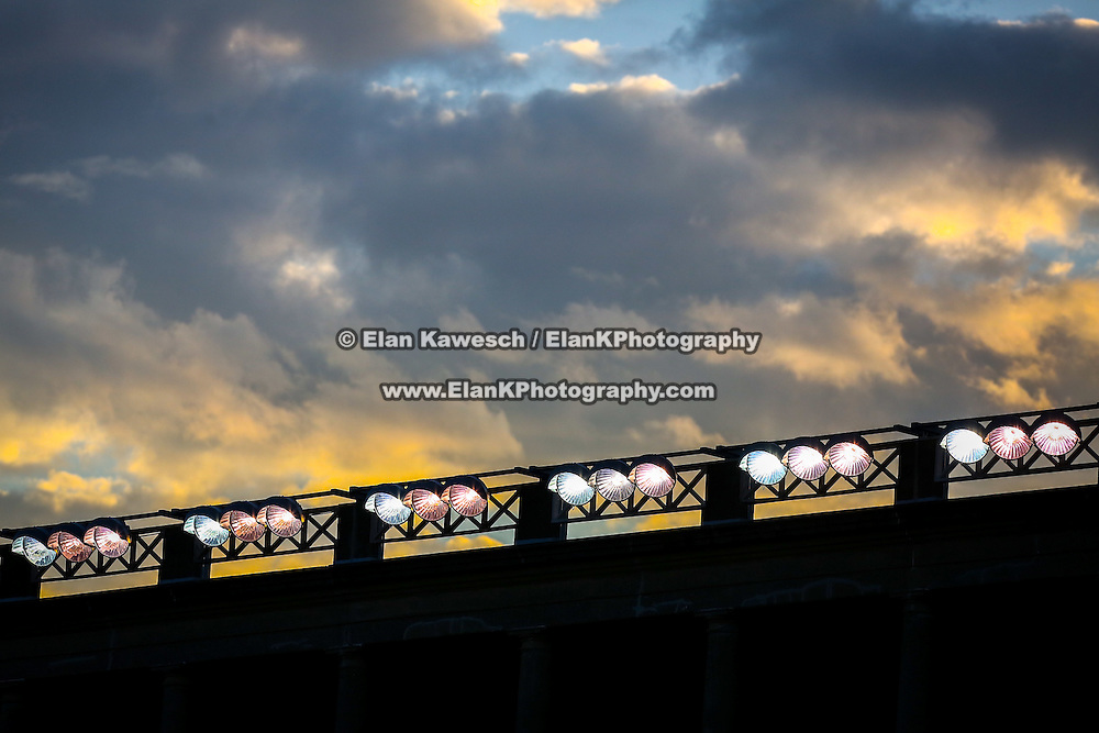 Lights shine over the field during the game between the Boston Cannons and the Rochester Rattlers at Harvard Stadium on August 9, 2014 in Boston, Massachusetts. (Photo by Elan Kawesch)