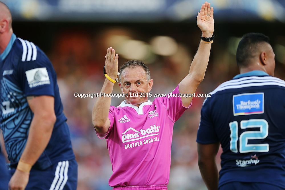 Referee Chris Pollock. Super Rugby match, Blues v Chiefs at QBE Stadium, Auckland, New Zealand. Saturday 14 February 2015. Photo: Anthony Au-Yeung / www.photosport.co.nz