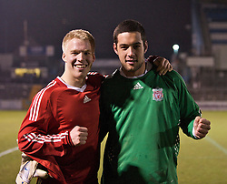 BRISTOL, ENGLAND - Thursday, January 15, 2009: Liverpool's match winners, two-goal scorer Lauri Dalla Valle and penalty shoot-out hero goalkeeper Dean Bouzanis celebrate victory over Bristol Rovers during the FA Youth Cup match at the Memorial Stadium. (Mandatory credit: David Rawcliffe/Propaganda)