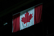 KELOWNA, CANADA - MARCH 03:  The Canadian Flag at the Kelowna Rockets game on March 03, 2018 at Prospera Place in Kelowna, British Columbia, Canada.  (Photo By Cindy Rogers/Nyasa Photography,  *** Local Caption ***