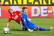 DEN HAAG - 21-04-2016, ADO Den Haag - AZ, Kyocera Stadion, AZ speler Dabney dos Santos Souza scoort hier de 0-1, doelpunt, ADO Den Haag speler Martin Hansen.