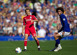 LIVERPOOL, ENGLAND - Saturday, October 1, 2011: Liverpool's Lucas Leiva in action against Everton during the Premiership match at Goodison Park. (Pic by Vegard Grott/Propaganda)