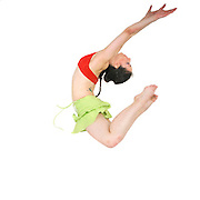 Young female modern dancer On white Background