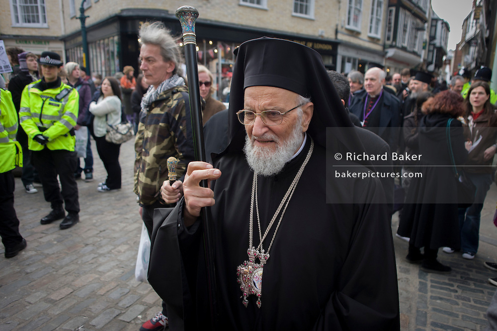 Canterbury 21/3/2013 - VIP guests from all religions, denominations and faiths walk through the medieval Mercery Lane before the enthronement of the Church of England's 105th Archbishop of Canterbury, ex-oil executive and former Bishop of Durham the Right Reverend Justin Welby. Welby (57) follows a long Anglican heritage since Benedictine monk Augustine, the first Archbishop of Canterbury in 597AD Prince Charles and Prime Minister David Cameron joined 2,000 VIP guests to Canterbury Cathedral, the oldest church in England which has attracted pilgrims since Thomas a Becket was murdered in the Cathedral in 1170.