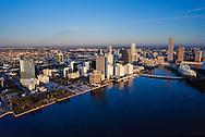 Vintage aerial of Miami Skyline circa 1990