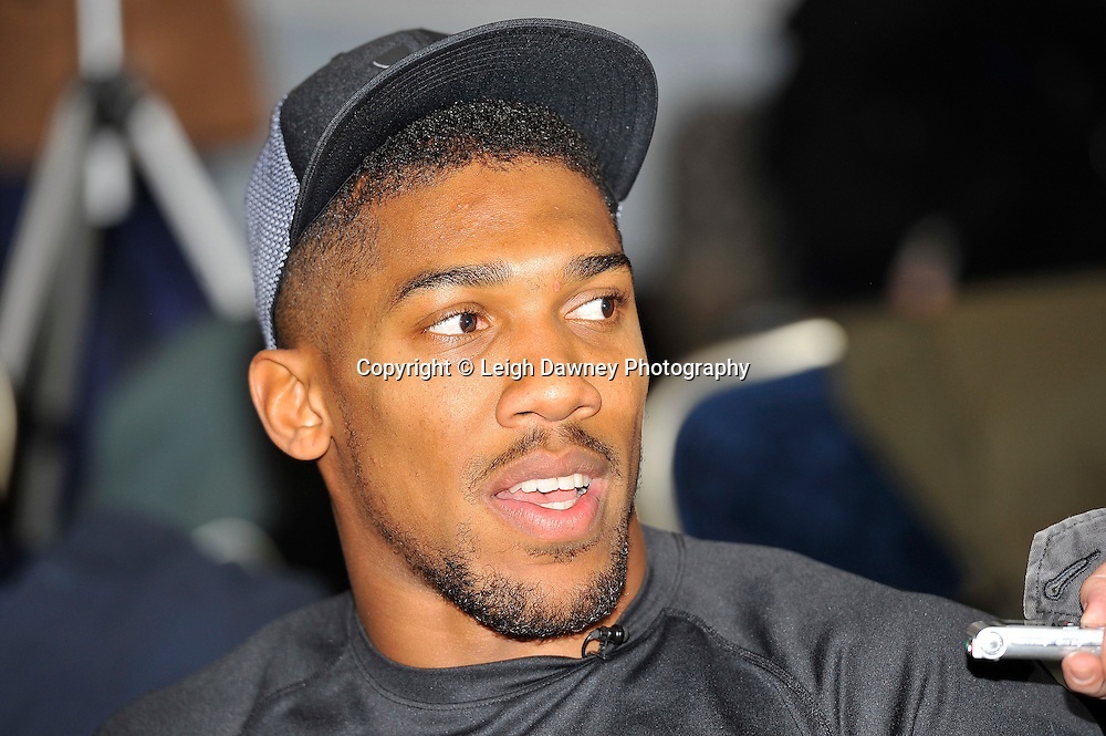 Anthony Joshua speaking at the press conference at the Dorchester Hotel, Park Lane, London on19th February 2016 ahead of his IBF World Heavyweight Title fight against Charles Martin. Photo credit: Leigh Dawney