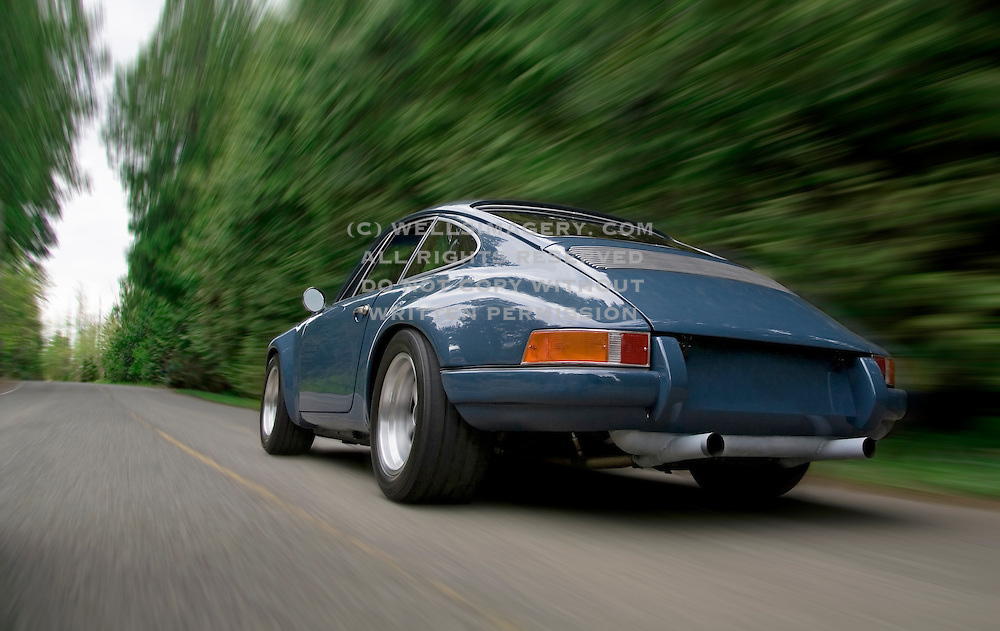 Image of a 1970 custom sports car on a road near Seattle, Washington, Pacific Northwest,  Porsche 911 ST, property released
