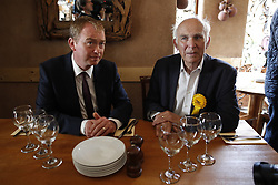 © Licensed to London News Pictures. 07/06/2017. Twickenham, UK. Liberal Democrat leader Tim Farron campaigns in Twickenham with local candidate Vince Cable on the last day of the election before the polls open. Photo credit: Peter Macdiarmid/LNP