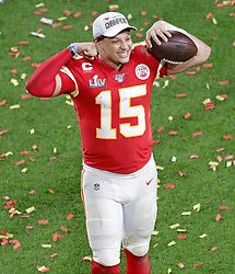 February 2, 2020, Miami Gardens, FL, USA: Kansas City Chiefs quarterback Patrick Mahomes (15) celebrates after winning Super Bowl LIV, 31-20, against the San Francisco 49ers at Hard Rock Stadium in Miami Gardens, Fla., on Sunday, Feb. 2, 2020. (Credit Image: © TNS via ZUMA Wire)