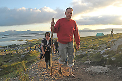 Chris Moran Barefoot pilgrim from Cross Co Mayo on his way up Croagh Patrick on Reek Sunday.<br /> Photo Conor McKeown