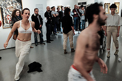 December 13, 2016 - Jerusalem, Israel - Twenty performers from dance, theatre, circus and drag partake in an international premiere of 'The First Accused' by Sahar Azimi in the framework of 'Dance in the Exhibition' in the Israel Museum's Contemporary Art Gallery. Performers are totally unaware of what awaits them and each follows his or her interpretation of a written or oral set of instructions revealed during the performance, creating an intricate web of improvisation. (Credit Image: © Nir Alon via ZUMA Wire)