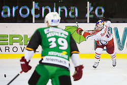02.11.2012, Hala Tivoli, Ljubljana, SLO, EBEL, HDD Telemach Olimpija Ljubljana vs EC Red Bull Salzburg, 18. Runde, in picture Justin Keller (EC Red Bull Salzburg, #19) shoots and breaks a stick during the Erste Bank Icehockey League 18th Round match between HDD Telemach Olimpija Ljubljana and EC Red Bull Salzburg at the Hala Tivoli, Ljubljana, Slovenia on 2012/11/02. (Photo By Matic Klansek Velej / Sportida)