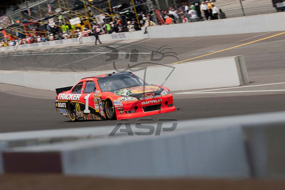 INDIANPOLIS, IN - JUL 29, 2012:  Jamie McMurray (1) brings his car down the front stretch during the Curtiss Shaver 400 presented by Crown Royal Sprint Cup Series race at the Indianapolis Motor Speedway in Indianapolis, IN.
