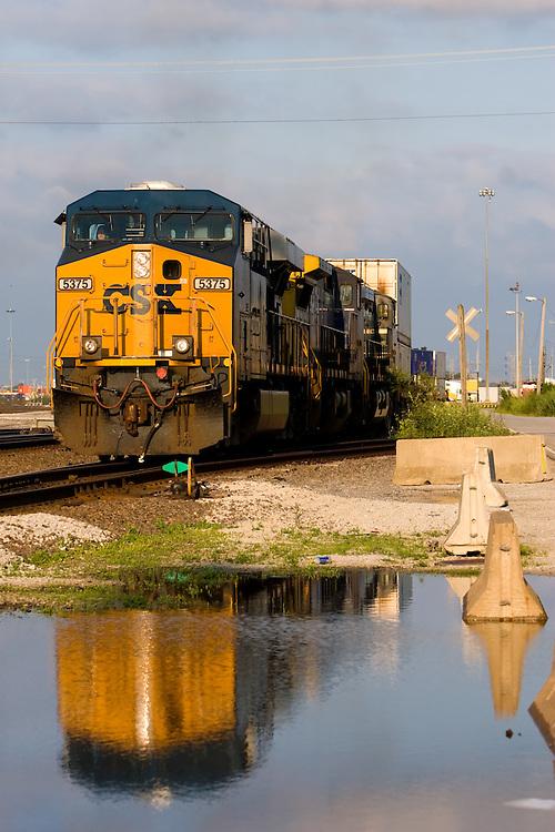CSX Intermodal Train Reflection | Photography by Nick Suydam