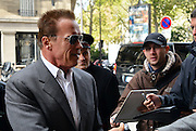 12.OCTOBER.2012. PARIS<br /> <br /> ARNOLD SCHWARZENEGGER ARRIVING AT THE LUTETIA HOTEL IN PARIS, FRANCE.<br /> <br /> BYLINE: EDBIMAGEARCHIVE.CO.UK<br /> <br /> *THIS IMAGE IS STRICTLY FOR UK NEWSPAPERS AND MAGAZINES ONLY*<br /> *FOR WORLD WIDE SALES AND WEB USE PLEASE CONTACT EDBIMAGEARCHIVE - 0208 954 5968*